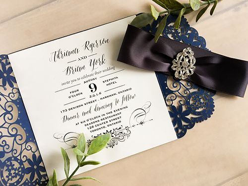 Wedding Invitation lc10: Cream Smooth, Deep Charcoal Ribbon, Brooch/Buckle A17
