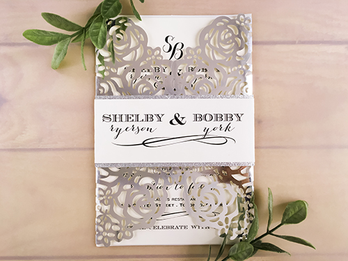 Wedding Invitation lc111: Silver Glitter, Cream Smooth