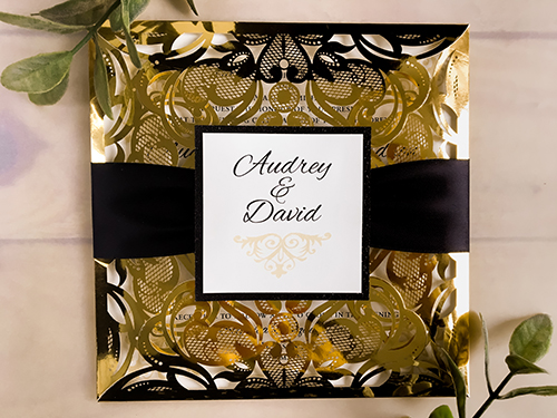 Wedding Invitation lc114: Black Glitter, Cream Smooth, Black Ribbon