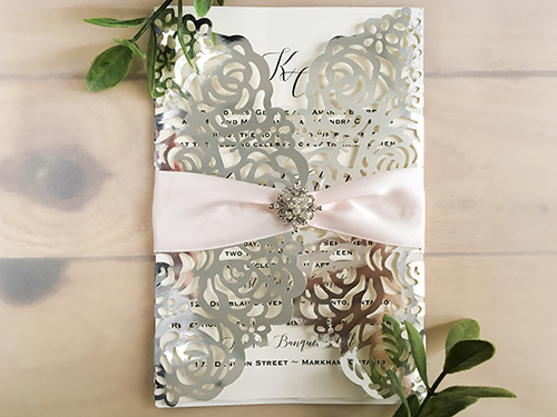 Wedding Invitation lc116: Cream Smooth, Petal Pink Ribbon, Brooch/Buckle A8