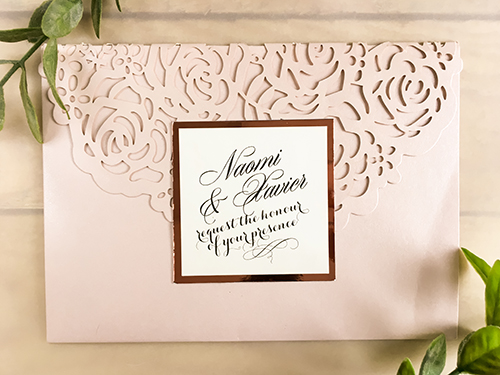 Wedding Invitation lc117: Rose Gold Mirror, Cream Smooth