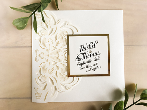 Wedding Invitation lc120: Gold Mirror, Cream Smooth, Brooch/Buckle Rhinestone