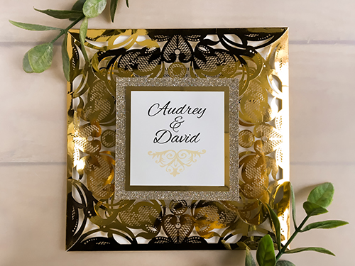Wedding Invitation lc122: Gold Mirror, Cream Smooth