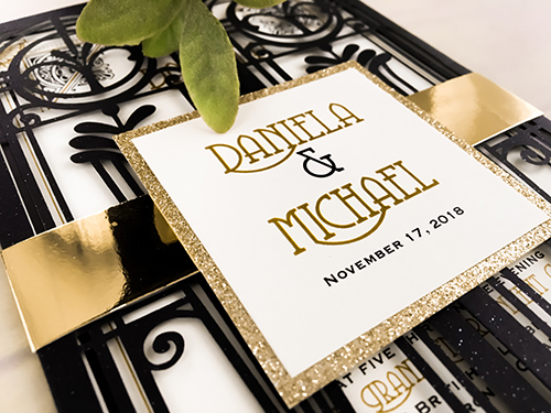 Wedding Invitation lc123: Gold Glitter, White Smooth