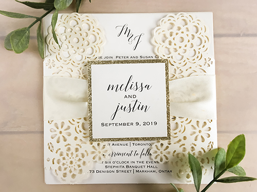 Wedding Invitation lc124: Champagne Glitter, Cream Smooth, Antique Ribbon