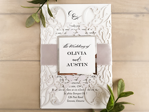 Wedding Invitation lc127: Silver Mirror, White Smooth, Silver Ribbon