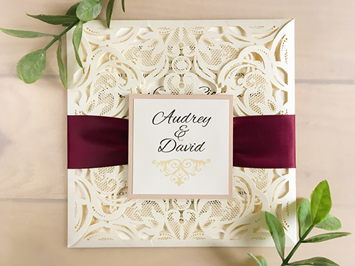 Wedding Invitation lc12: Blush Pearl, Wine Ribbon