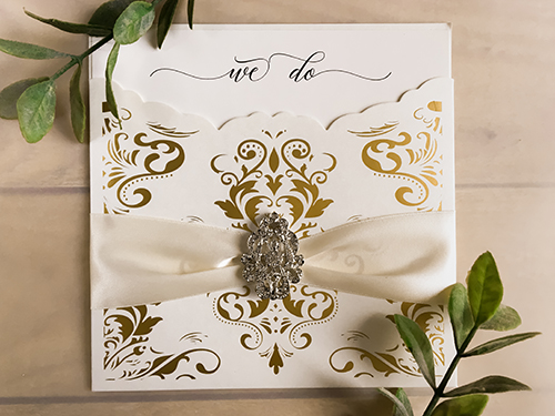 Wedding Invitation lc130: Cream Smooth, Deep Blush Ribbon, Brooch/Buckle A17