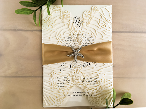 Wedding Invitation lc132: Cream Smooth, Champagne Ribbon, Brooch/Buckle A10