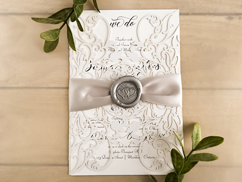Wedding Invitation lc133: White Smooth, Silver Ribbon