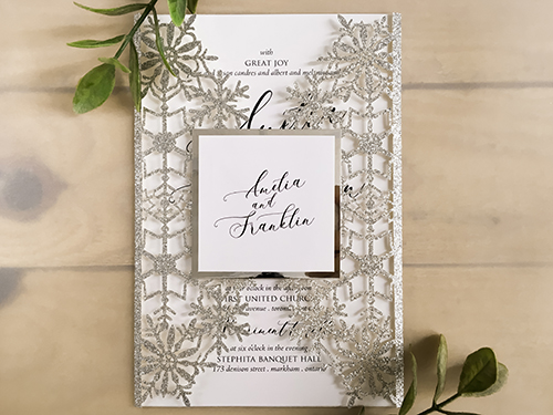 Wedding Invitation lc139: Silver Mirror, White Smooth
