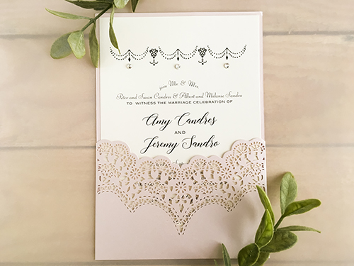 Wedding Invitation lc142: Cream Smooth, Brooch/Buckle Rhinestone
