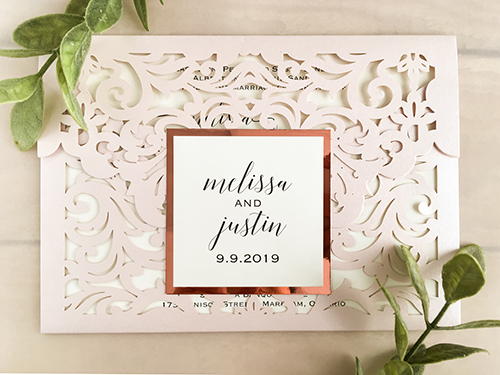 Wedding Invitation lc144: Rose Gold Mirror, Cream Smooth