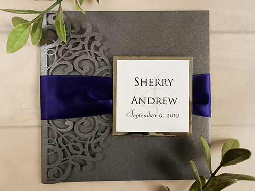Wedding Invitation lc147: Silver Mirror, Cream Smooth, Navy Ribbon