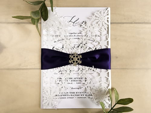 Wedding Invitation lc148: Navy Ribbon, Brooch/Buckle A18