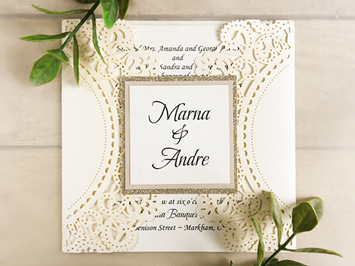 Wedding Invitation lc19: Blush Pearl, Cream Smooth