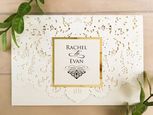 Wedding Invitation lc1: Gold Mirror