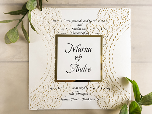 Wedding Invitation lc22: Gold Mirror, Cream Smooth