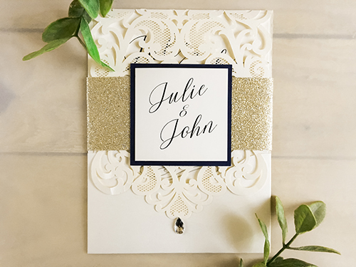Wedding Invitation lc25: White Gold, Cream Smooth