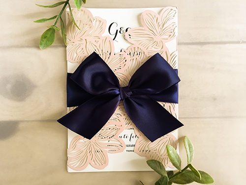 Wedding Invitation lc27: Petal Pink Ribbon