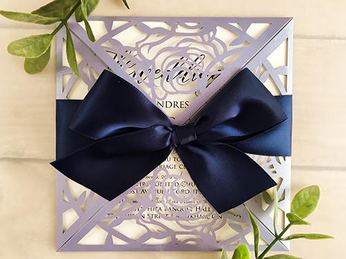 Wedding Invitation lc28: Cream Smooth, Navy Ribbon