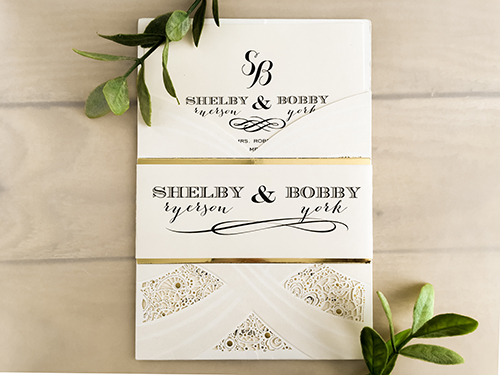 Wedding Invitation lc36: Cream Smooth