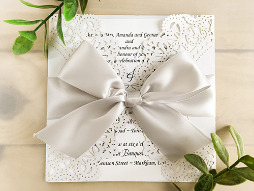 Wedding Invitation lc37: Silver Ribbon