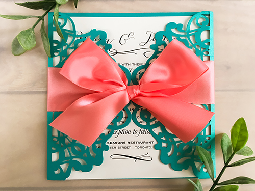 Wedding Invitation lc38: Cream Smooth, Coral Ribbon
