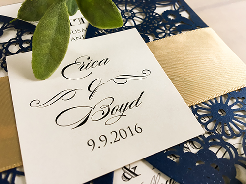 Wedding Invitation lc41: Cream Smooth, Navy Ribbon