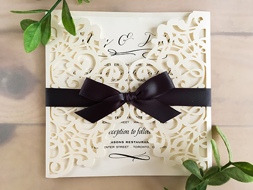Wedding Invitation lc44: Cream Smooth, Deep Charcoal Ribbon