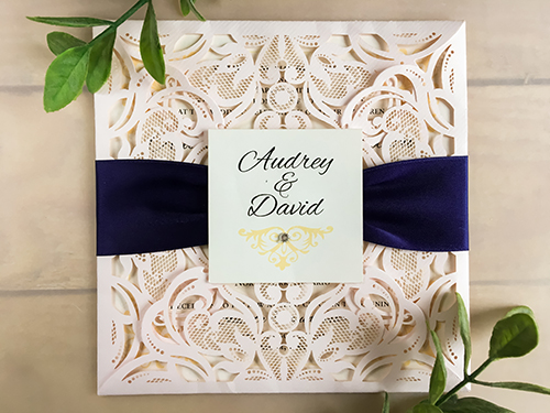Wedding Invitation lc45: Navy Ribbon, Brooch/Buckle Rhinestone