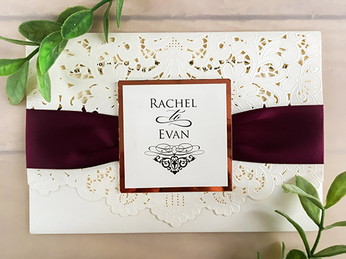 Wedding Invitation lc48: Rose Gold Mirror, Cream Smooth, Eggplant Ribbon, Brooch/Buckle Rhinestone
