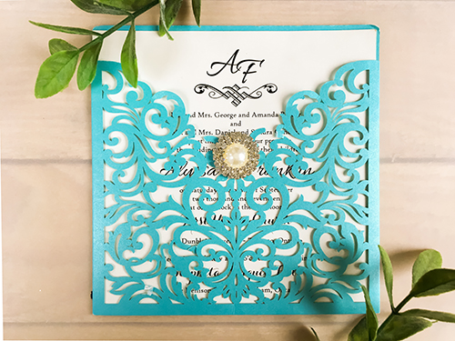 Wedding Invitation lc4: Cream Smooth, Brooch/Buckle G