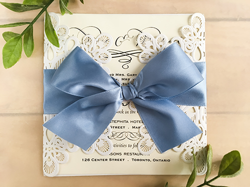 Wedding Invitation lc50: Cream Smooth, Blue Mist Ribbon