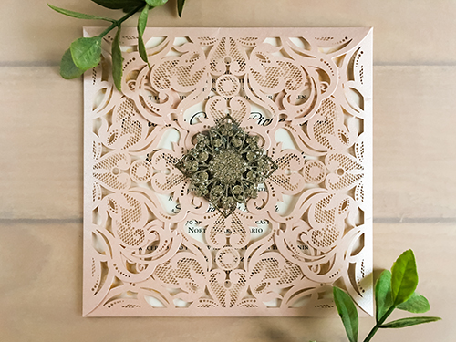 Wedding Invitation lc51: Brooch/Buckle A11, Metal Filigree F5 - Silver