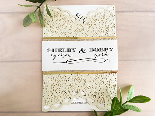 Wedding Invitation lc54: Champagne Glitter, Cream Smooth