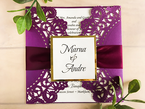 Wedding Invitation lc57: Gold Mirror, Eggplant Ribbon