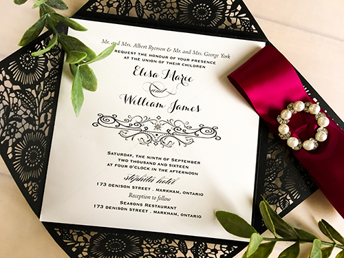 Wedding Invitation lc59: Wine Ribbon, Brooch/Buckle W