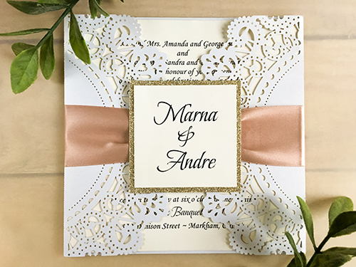Wedding Invitation lc60: Champagne Glitter, Cream Smooth, Deep Blush Ribbon