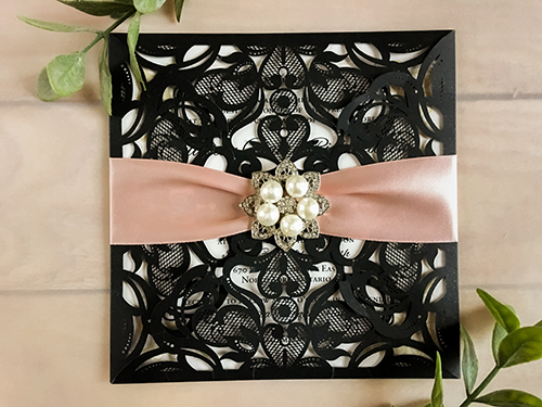 Wedding Invitation lc62: Cream Smooth, Deep Blush Ribbon, Brooch/Buckle T