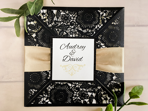Wedding Invitation lc65: Black Glitter, Cream Smooth, Champagne Ribbon