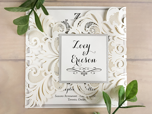 Wedding Invitation lc66: Silver Ore, Cream Smooth