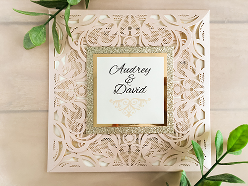 Wedding Invitation lc6: Gold Mirror, Cream Smooth