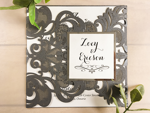 Wedding Invitation lc73: Silver Mirror, Cream Smooth
