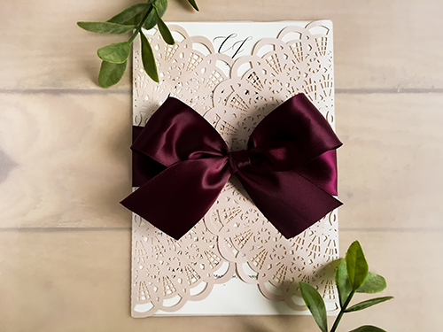 Wedding Invitation lc74: Wine Ribbon