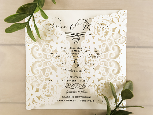 Wedding Invitation lc76: Cream Smooth