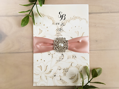Wedding Invitation lc77: Blush Ribbon, Brooch/Buckle Q