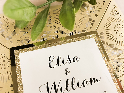 Wedding Invitation lc78: Gold Glitter, Cream Smooth