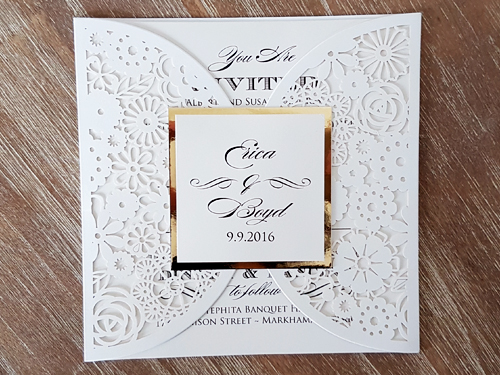 Wedding Invitation lc80: Gold Mirror, Cream Smooth