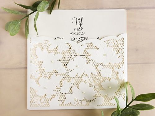 Wedding Invitation lc86: Cream Smooth